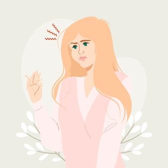 Illustrazione di perdita di capelli disegnata a mano piatta con la donna