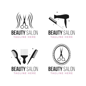 Flat-hand drawn hair salon logo collection