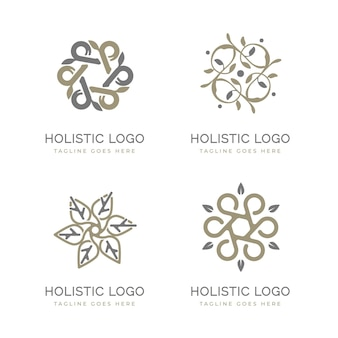 Flat-hand drawn holistic logo collection