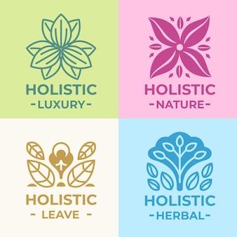 Flat-hand drawn holistic logo collection