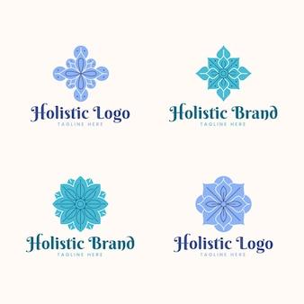 Insieme di logo olistico disegnato a mano piatta