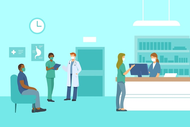 Flat-hand drawn hospital reception scene