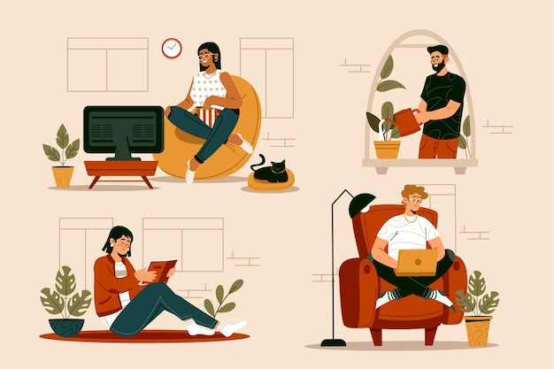 Flat-hand drawn hygge lifestyle illustration with people