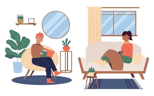 Плоская рисованная иллюстрация образа жизни хюгге Premium векторы
