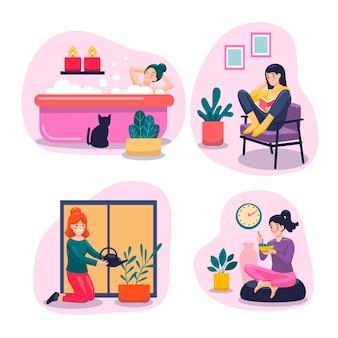 Scene di stile di vita hygge disegnate a mano piatta