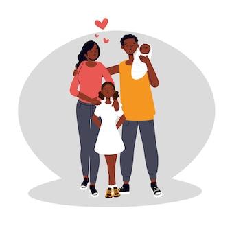 赤ちゃんとフラット手描きイラスト黒家族