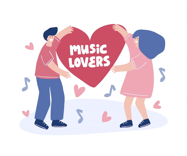 Flat hand drawn  illustration. music lovers lettering quote. musical festival .