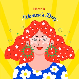 Flat-hand drawn international women's day illustration