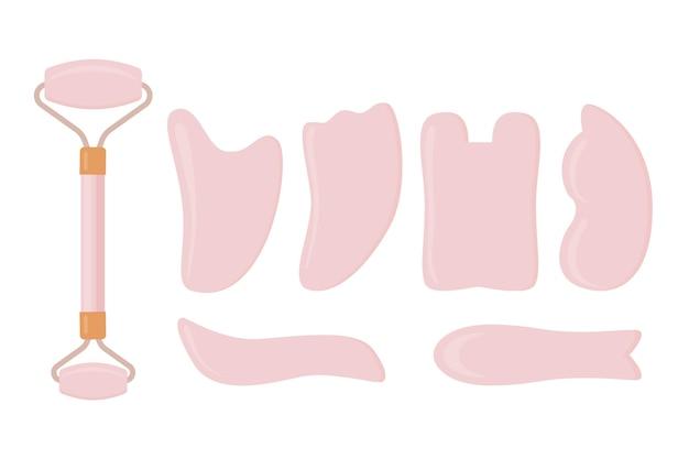 平手描き翡翠ローラーとグアシャのイラスト 無料ベクター