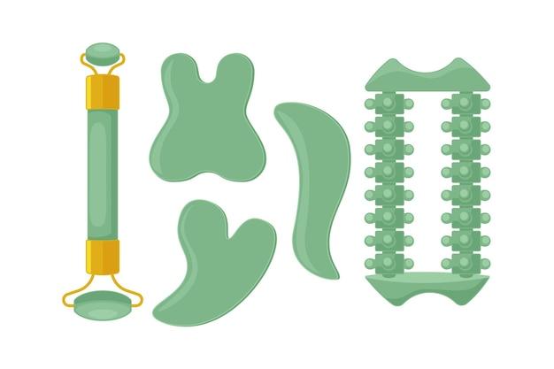 Rullo di giada disegnato a mano piatta e illustrazione di gua sha
