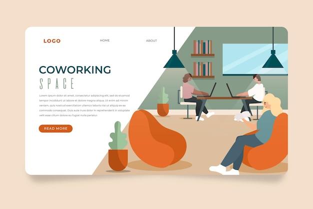 Плоская рисованная целевая страница в коворкинг-офисе