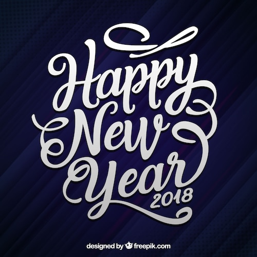 Flat hand drawn lettering happy new year 2018