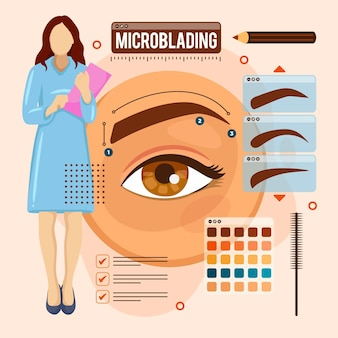 Flat-hand drawn microblading illustration