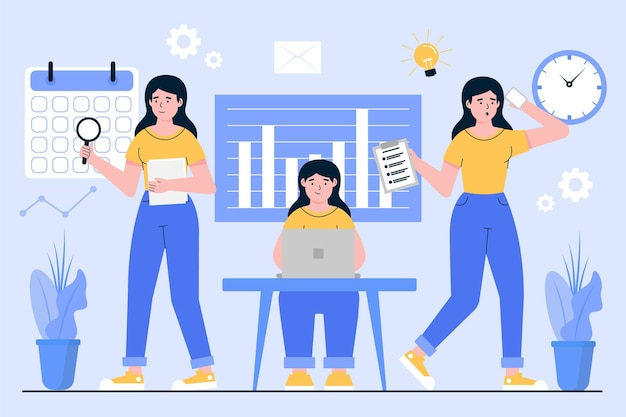 Flat-hand drawn multitask business woman illustrated