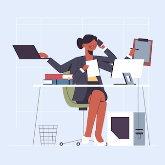Flat-hand drawn multitasking businesswoman illustration