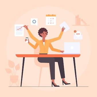 Illustrazione di donna d'affari multitasking disegnata a mano piatta
