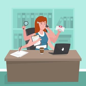 Плоский рисованной многозадачной бизнес-леди иллюстрации