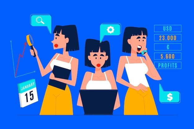 Flat-hand drawn multitasking businesswoman illustration