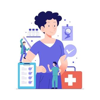 健康診断を受ける平手描きの患者
