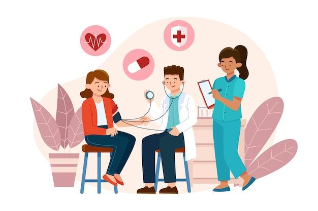 Paziente disegnato a mano piatta che prende una visita medica
