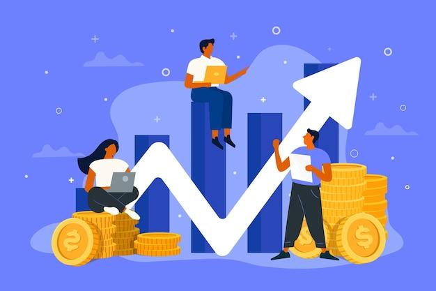Flat-hand drawn people analyzing growth chart illustration