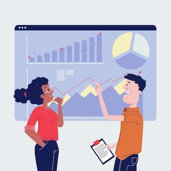 Плоские рисованные люди анализируют графики роста иллюстрации