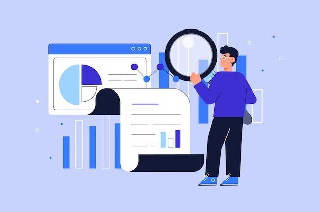 Flat-hand drawn people analyzing growth charts