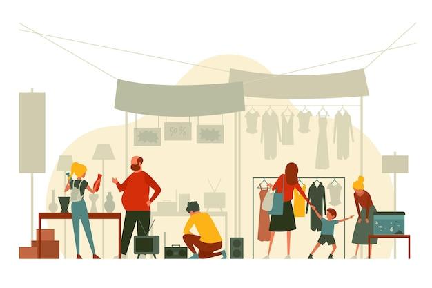 Плоские нарисованные от руки люди на блошином рынке