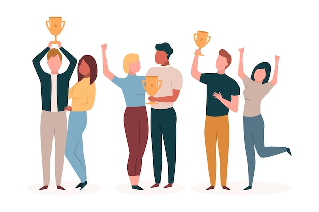 Flat-hand drawn people celebrating an achievement illustration
