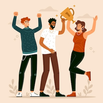 Persone disegnate a mano piatta che celebrano un'illustrazione di successo