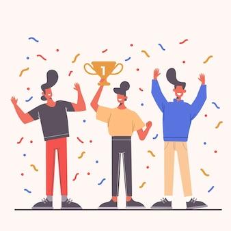 達成イラストを祝うフラット手描きの人々