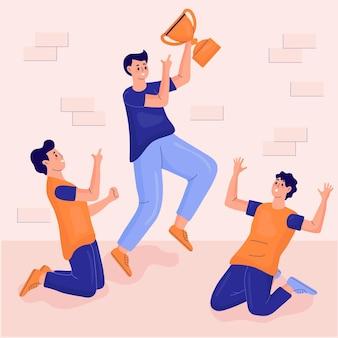 Flat-hand drawn people celebrating a goal achievement illustration
