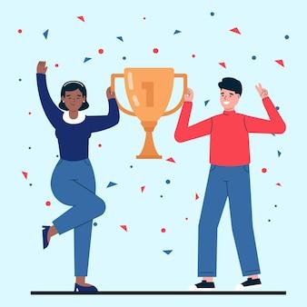 Flat-hand drawn people celebrating a goal achievement