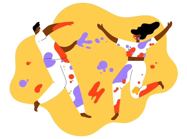 Flat-hand drawn people celebrating holi festival illustration