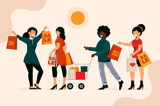 ショッピングバッグを持っているフラット手描きの人々