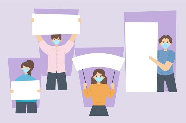 空白のプラカードと医療マスクでフラット手描きの人々