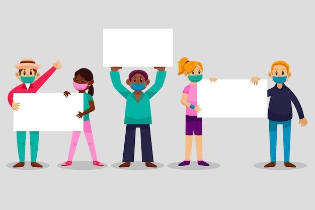 플래 카드 일러스트와 함께 의료 마스크에 평면 손으로 그린 사람들
