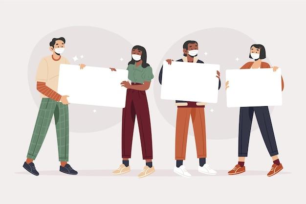 プラカードと医療マスクのフラット手描きの人々