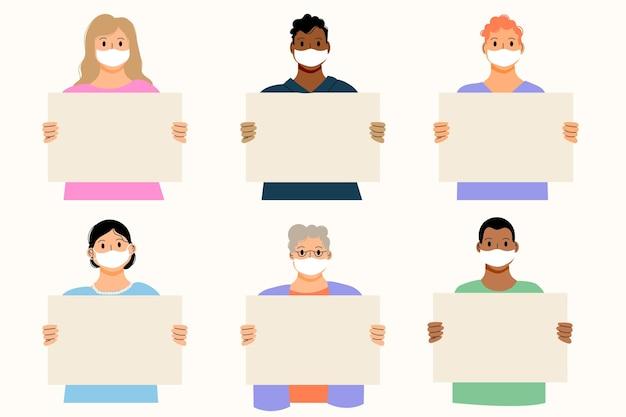 Persone disegnate a mano piatta in maschere mediche con cartelli vuoti
