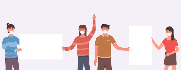 Flat-hand drawn people in medical masks with blank placards