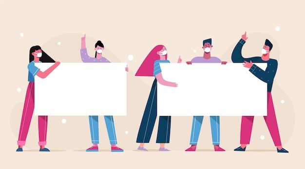 Persone disegnate a mano piatta in maschere mediche con cartelli