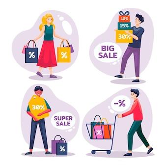 Плоские рисованные люди делают покупки в распродаже