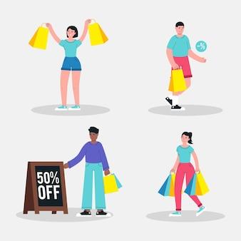 평면 손으로 그린 사람들이 판매 쇼핑