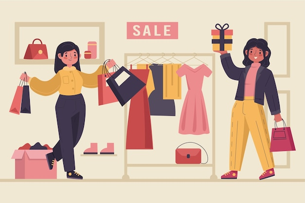 Flat-hand drawn people shopping on sale illustration