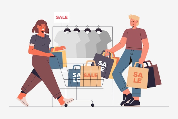 Flat-hand drawn people shopping on sale