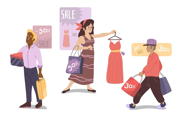Flat-hand drawn people shopping