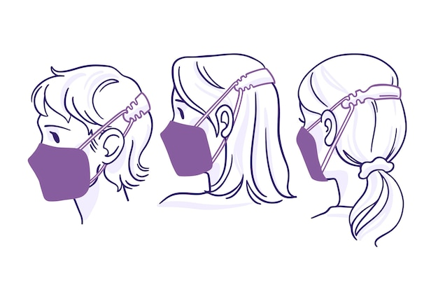 Flat-hand drawn people wearing an adjustable face mask strap