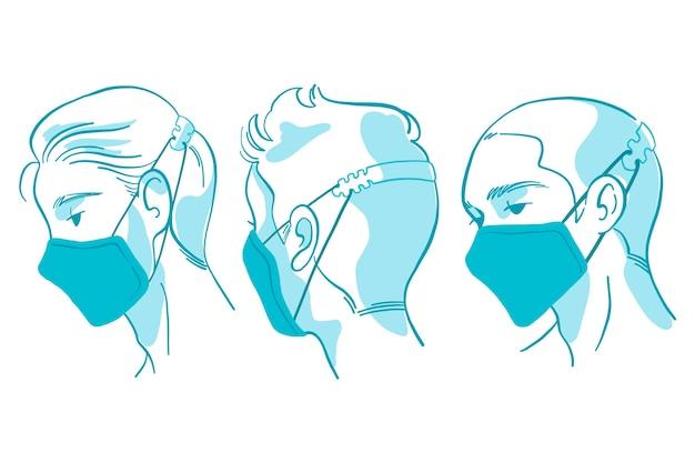 조절 가능한 안면 마스크 스트랩을 착용 한 평면 손으로 그린 사람들