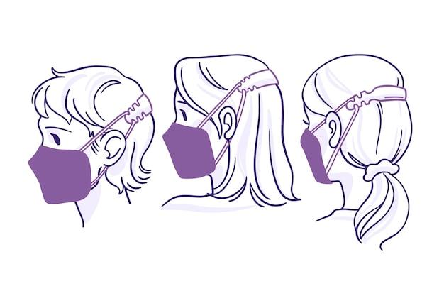 調節可能なフェイスマスクストラップを身に着けているフラット手描きの人々