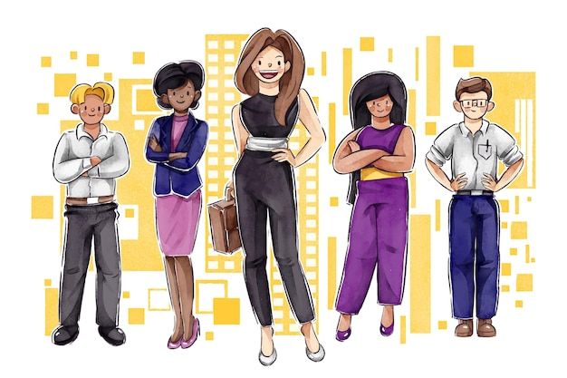 Плоский рисованной мощный женский лидер команды